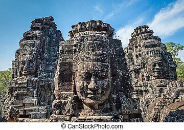 caras, Bayon, templo, angkor, camboya