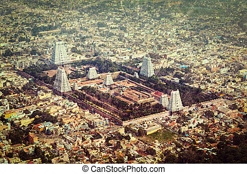 Hindu temple and indian city aerial view - Vintage retro...