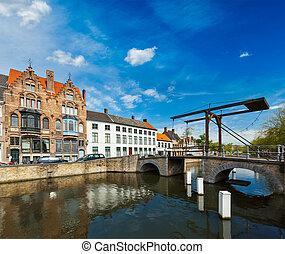 Bruges (Brugge), Belgium - Canal with old bridge. Bruges...
