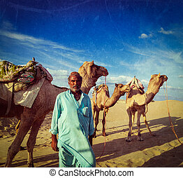 Cameleer camel driver with camels in dunes of Thar desert...
