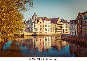 Bruges Brugge, Belgium - Vintage retro hipster style travel...