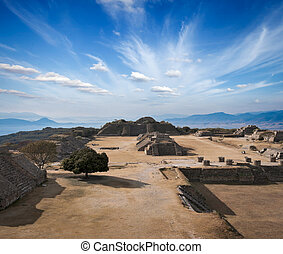 Ancient ruins on plateau Monte Alban in Mexico - Ancient...