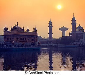 Golden Temple, Amritsar - Vintage retro hipster style travel...