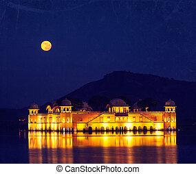 Jal Mahal (Water Palace). Jaipur, Rajasthan, India - Vintage...