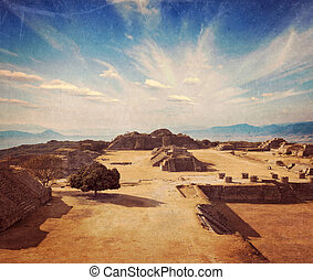 Ancient ruins on plateau Monte Alban in Mexico - Vintage...