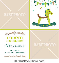 Baby Arrival Card - with place for your text and photo -  in vector