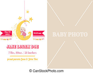 Baby Girl Arrival Card - with place for your text and photo -  in vector