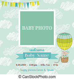Baby Arrival Card with Photo Frame - Air Balloon and Cute...