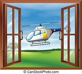 A helicopter outside the window