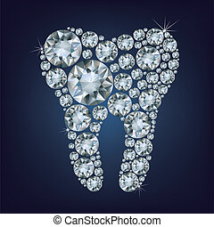 tooth made up a lot of diamonds - illustration of tooth made...