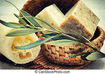 Natural olive soap - Rustic setting with natural olive soap