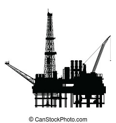 Silhouette of oil platform, vector illustration