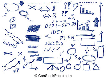 Set of hand drawn business elements, vector