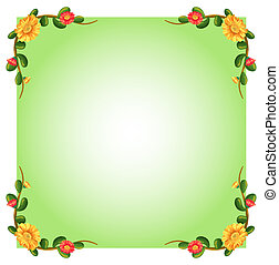 An empty template with floral borders - Illustration of an...