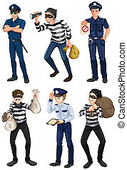 Police officers and robbers - Illustration of the police...