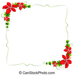 A floral border with red flowers - Illustration of a floral...