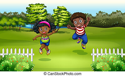 Black kids near the trees