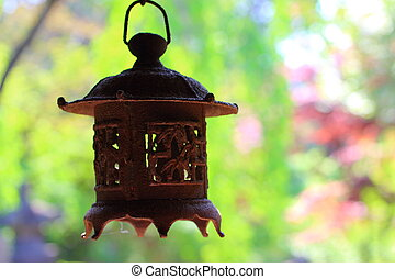 old japanese lantern - andon, old japanese lantern hung on...