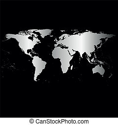 Black World Map Vector - Black World Map, dark design vector...