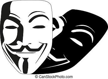 blanc, masque, anonyme, vecteur