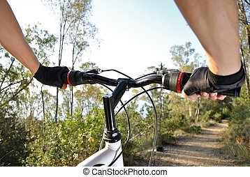 sportsman riding mountain bike in the woods