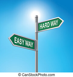 3d road sign saying easy way and hard way - crossroad 3d...