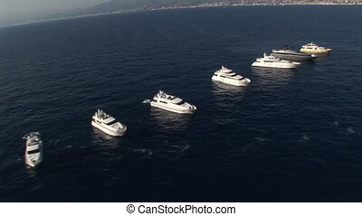 Aerial view of luxury yachts fleet