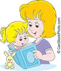 Mother and daughter reading - Mom reads a book to her little...
