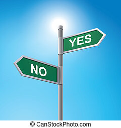 3d road sign saying yes and no - crossroad 3d vector road...