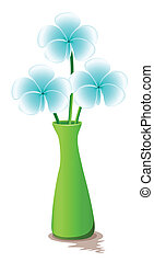 A green vase with fresh flowers
