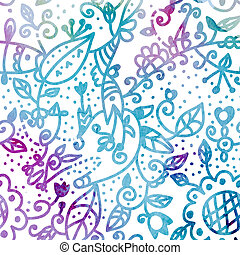 Floral watercolor seamless background in blue