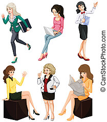 Busy women - Illustration of the busy women on a white...