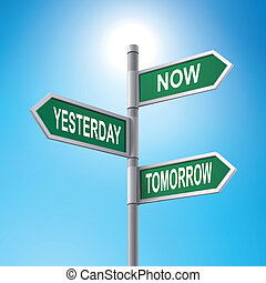 3d road sign saying now and yesterday and tomorrow -...