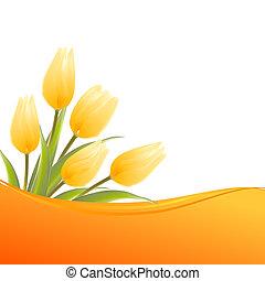 narancs, kártya, tulipánok