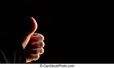 Thumbs up Man showing approval gesture with thumb 1920x0180,...