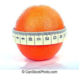 Orange with tape measure - Supple orange with a tape measure...