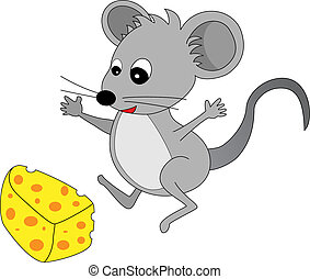 A happy cute looking grey cartoon mouse found some cheese -...