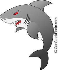 Angry Looking Cartoon Shark - Vector Illustration of An...