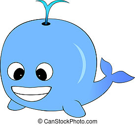 Cute Blue Cartoon Whale - Vector Illustration of A Cute Blue...