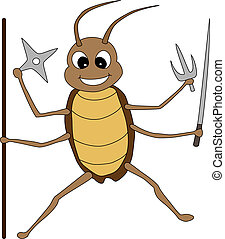 A Cute Fighting Cockroach Holding Weapons - Vector...