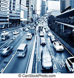 Hong Kong Traffic - Hong Kong street with busy traffic and...