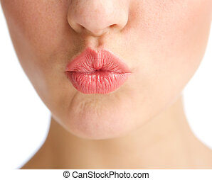 Young woman half face kissing lips - Close up young woman...