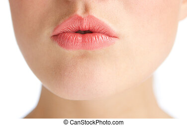 Beautiful young woman with kissing lips - Close up half face...