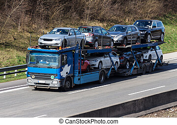 trucks on the highway road transport for freight