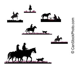 silhouettes of cowboys on horseback on the prairie