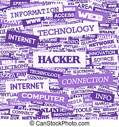 HACKER Word cloud illustration Tag cloud concept collage
