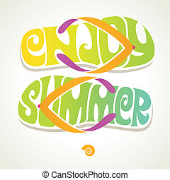 Summer vacation illustration - Flip-flop with summer...