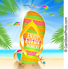 Summer vacation illustration - Multicolored huge flip-flop...