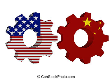 US working with China, Two cogwheel gear mechanism pieces...