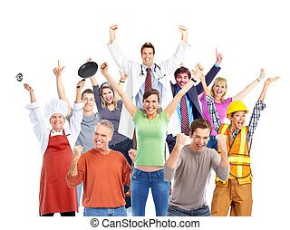 Group of happy workers people. - Group of happy workers...